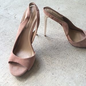 BCBGMaxAzria Nude Suede Slingback Heels Gold 8 1/2